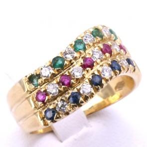 Anello fascia tripla multicolor -zaffiri, smeraldi, rubini per 0.60-0.70 ct- oro e diamanti -0.25-0.30 ct; 7.36 gr