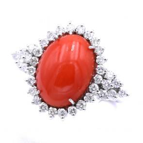 Anello margherita corallo rosso, oro e diamanti - 1.25 ct; 7.16 gr