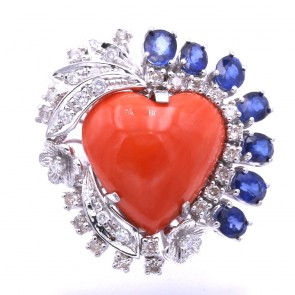 Anello maxi cuore corallo, oro, zaffiri - 3.0 ct- e diamanti