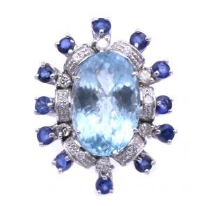Anello maxi fiore oro, acquamarina - 8.91 ct -, zaffiri - 2.08 ct - e diamanti