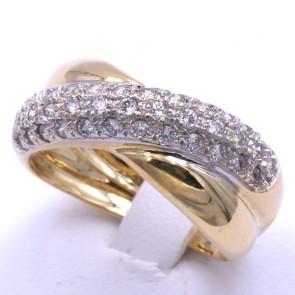 Anello fascia incrociata in oro e zirconi; 6.54 gr
