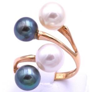 Anello contrariè doppio oro e perle bianche e nere; 9.42 gr