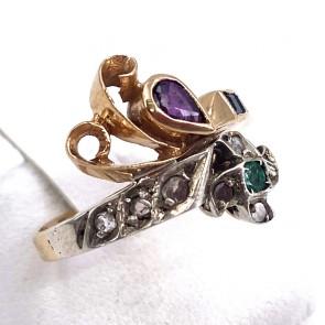 Anello in stile vintage oro, rubini, zaffiri, smeraldi e diamanti - 0.10-0.12 ct. 3.9 gr.
