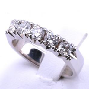 Anello riviera oro e 5 diamanti -1.00 ct; 5.8 gr