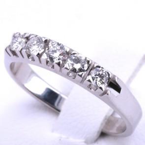 Anello riviera oro e 5 diamanti -0.30 ct; 3.23 gr