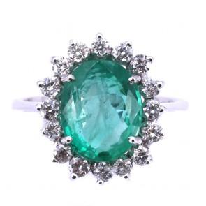 Anello margherita oro, smeraldo - 3.89 ct - e diamanti -