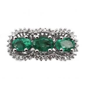 Anello trilogy oro, smeraldi - 1.48 ct - e diamanti