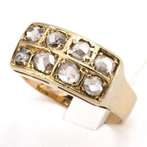 Anello in stile, riviera doppia, oro e diamanti - 0.85-0.95 ct-  4.3 gr
