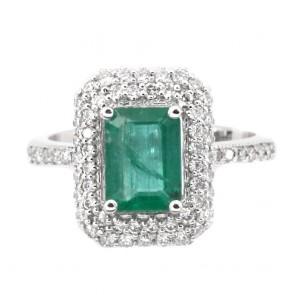 Anello rettangolo oro, smeraldo - 1.54 ct - e diamanti -
