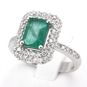 Anello rettangolo oro, smeraldo - 1.54 ct - e diamanti - 0.72 ct; 5.57 gr