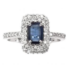 Anello rettangolo oro, zaffiro - 0.75 ct - e diamanti