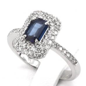 Anello rettangolo oro, zaffiro - 0.75 ct - e diamanti - 0.60 ct; 4.64 gr