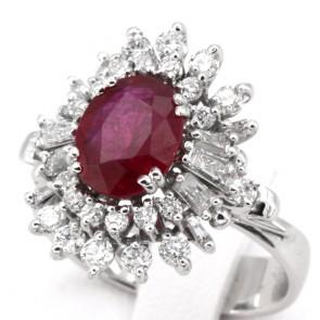 Anello maxi margherita di rubino - 2.45 ct - e diamanti - 1.48 ct; 8.15 gr