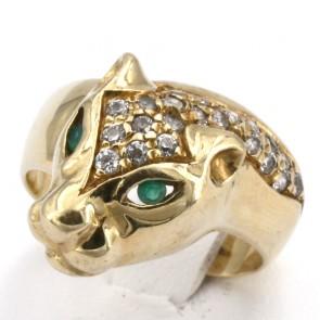 Anello pantera, oro giallo, zirconi e occhi smeraldo - 8.7 gr