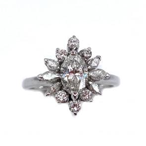 Anello margherita oro, marquise diamanti
