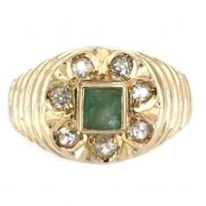 Anello fiore oro, smeraldo - 0.60 ct - e diamanti