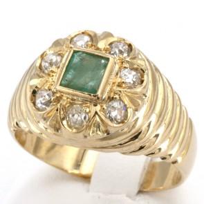 Anello fiore oro, smeraldo - 0.60 ct - e diamanti - 0.55-0.60 ct; 12.9 gr