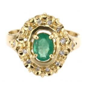Anello margherita oro, smeraldo - 0.90-1.0 ct - e diamanti