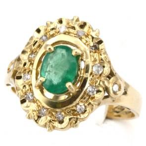 Anello margherita oro, smeraldo - 0.90-1.0 ct - e diamanti - 0.16 ct; 4.1 gr
