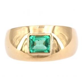 Anello fascia oro e smeraldo