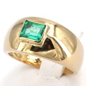 Anello fascia oro e smeraldo - 0.65-0.75 ct; 7.5 gr