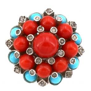 Anello maxi toppa circolare in stile corallo, turchese, oro - e diamanti