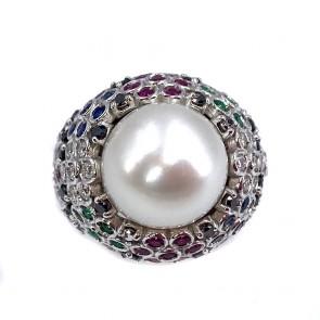 Anello oro, perla australiana 11 mm, zaffiri, smeraldi rubini e diamanti;