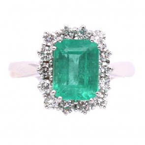 Anello margherita oro, smeraldo