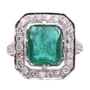 Anello quadro oro, smeraldo