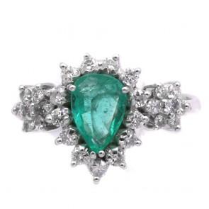 Anello goccia oro, smeraldo - 0.75 ct - e diamanti