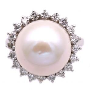 Anello maxi oro, perla australiana bianca