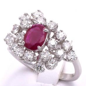 Anello fuoco d'artificio con rubino - 1.12 ct - e diamanti - 1.56 ct; 6.9 gr