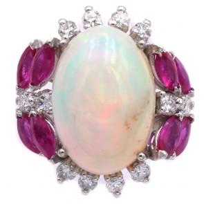 Anello maxi margherita ovale, oro, opale