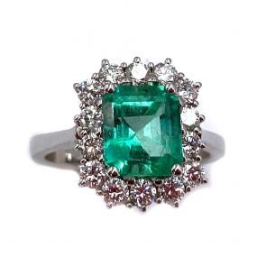 Anello margherita squadrata oro, smeraldo