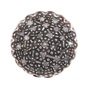 Anello toppa circolare in stile oro e diamanti