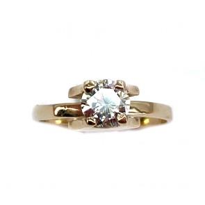 Anello solitario, originale montatura design, oro giallo e diamante