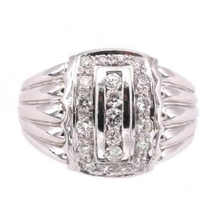 Anello maxi fascia in stile oro e diamanti -