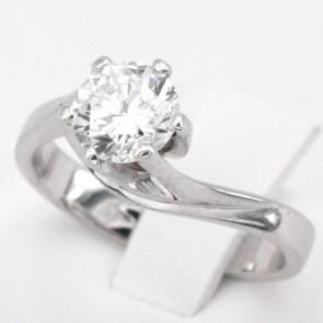 Anello solitario oro e diamante - 1.03 ct, JI-VVS; 4.8 gr
