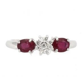 Anello fascia oro, margherita circolare diamanti e rubini