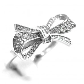 Anello fiocco argento e zirconi - 3,4 gr