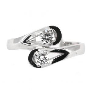 Anello contrariè oro e diamanti
