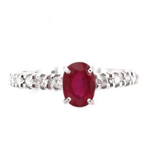 Anello semi eternelle oro, diamanti - 0.40 ct- e rubino solitario