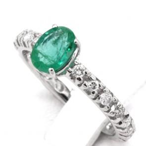 Anello semi eternelle oro, diamanti - 0.40 ct- e smeraldo solitario - 1 ct; 2.04 gr