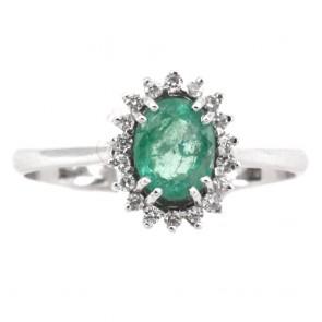Anello margherita oro, diamanti - 0.15-0.20 ct- e smeraldo