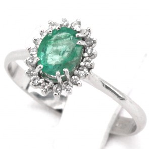 Anello margherita oro, diamanti - 0.15-0.20 ct- e smeraldo - 0.70-0.80 ct; 2.47 gr