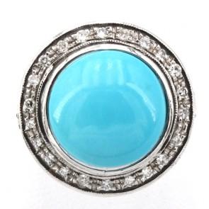 Anello maxi margherita circolare oro, turchese e diamanti
