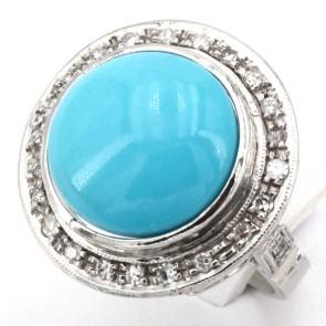 Anello maxi margherita circolare oro, turchese e diamanti - 0.30-0.35 ct; 7.75 gr