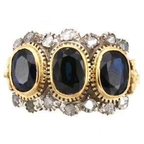 Anello trilogy in stile oro, zaffiri - 5.0-5.5 ct e diamanti