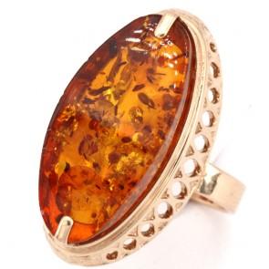 Anello oro e maxi spola ambra - 2.8 x 1.4 cm - 7.15 gr