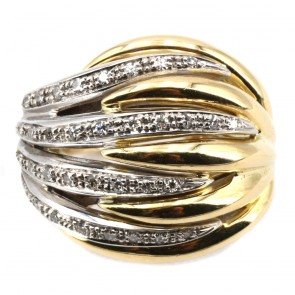 Anello maxi cupola scanalata in oro bicolore e diamanti
